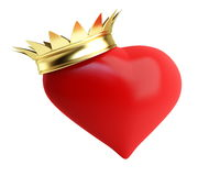 Gold crown red heart. On a white background Royalty Free Stock Photography