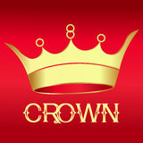 Gold Crown on red  - Illustration Stock Photo