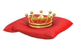 Gold Crown on the red pillow Royalty Free Stock Images