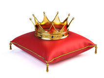 Gold crown on red pillow. 3drender Stock Image