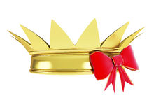 Gold crown with a ribbon. On a white background Stock Photos