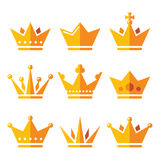 Gold crown, royal family icons set Stock Photography