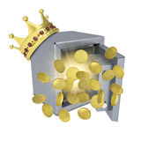Gold crown, safe and coins Royalty Free Stock Photo