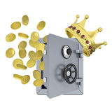Gold crown, safe and coins Stock Images