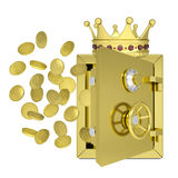 Gold crown, safe and coins. Isolated on white background Royalty Free Stock Image