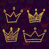 Gold crown set  on dark background with seamless pattern. Glitters set of king crowns. Vector Illustration. Graphic design Stock Photos