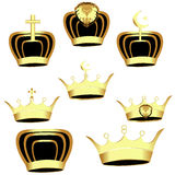 Gold Crown set  - Illustration Royalty Free Stock Image