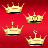 Gold Crown set  - Illustration Royalty Free Stock Images