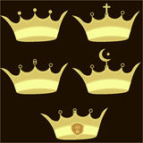 Gold Crown set - Illustration Stock Photos
