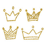 Gold crown set isolated on white background. Glitters set of king crowns. Vector Illustration. Graphic design  for your de Stock Images