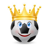 Gold crown on  soccer ball Stock Image