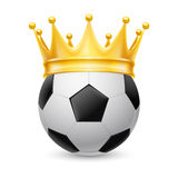 Gold crown on  soccer ball Stock Images