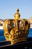 Gold crown in Stockholm. Picture of gold crown in Stockholm City Royalty Free Stock Images