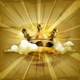 Gold crown, vector background Stock Photos