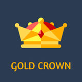 Gold crown. Vector flat illustration Stock Image