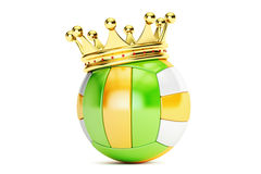 Gold crown on the volleyball ball, 3D rendering. On white background Royalty Free Stock Image