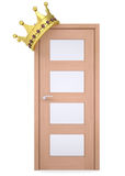 Gold crown on a wooden door Stock Photos