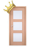 Gold crown on a wooden door Royalty Free Stock Image