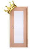 Gold crown on a wooden door Royalty Free Stock Photography