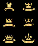Gold Crowns and Banners Stock Photo
