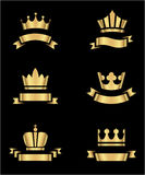 Gold Crowns and Banners Stock Image