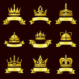 Gold crowns and ribbon banner vector set Royalty Free Stock Photography