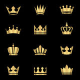 Gold Crowns Set. Set of gold crowns icons.  Colors in gradients are global, so they can be changed easily.  Each element is grouped individually for easy editing Royalty Free Stock Photography