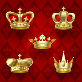 Gold crowns set Royalty Free Stock Photos
