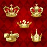 Gold crowns set Royalty Free Stock Photos