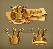 Gold crowns, vector icons Stock Image