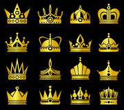 Gold crowns vector set Royalty Free Stock Image