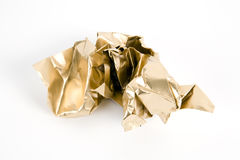 Gold crumpled paper Stock Image