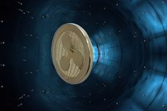 Gold crypto currency ripple - accelerator particle. On a blue background in accelerator particle is a gold coin of a virtual digital crypto currency - ripple for stock photos