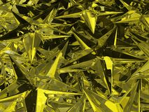 Gold Crystal Stars. Yellow gold star many crystal background, 3d illustration, horizontal Royalty Free Stock Photo