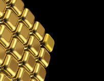 Gold cubes. Shiny gold cubes in black background Stock Photos