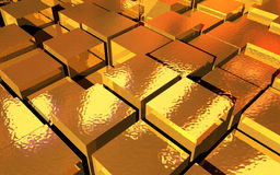 Gold Cubes. Abstract 3d background of gold cubes Royalty Free Stock Photo