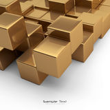 Gold cubes abstract background. Abstract gold cubes on white background Royalty Free Stock Photography