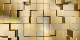 Gold cubes. 3d render image Stock Image