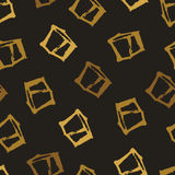 Gold cubes Seamless pattern Hand drawing style Vector Royalty Free Stock Image