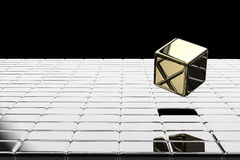 Gold cubic pop up Royalty Free Stock Photos