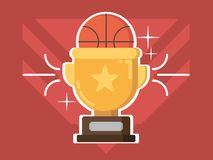 Gold cup award. Prize trophy for basketball competitions. Vector illustration Stock Photo