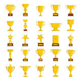 Gold cup awards icons collection. In cartoon style isolated on white background. Elements for cup awards design and web Stock Images
