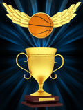 Gold cup with basketball Royalty Free Stock Photos