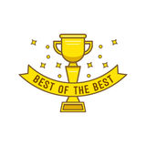 Gold cup best of the best in cartoon style. Gold goblet with inscription best of the best for designers and illustrators. Award bowl in the form of vector Royalty Free Stock Photo
