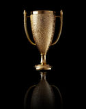 Gold cup on black background. Gold cup with reflection on black background Stock Photo