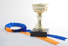 Gold cup with the blue-yellow. Winner's gold cup withblue-yellow ribbon on the white background royalty free stock photography