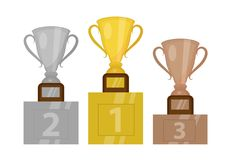 Gold Cup champion on the pedestal, the first place. Winner`s podium with gold, silver and bronze trophy. Isolated on. White background. Vector illustration Stock Photography