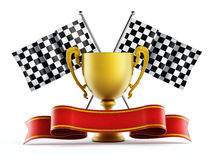 Gold cup, checkered flags and red ribbon. 3D illustration Royalty Free Stock Photography