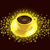 Gold cup of coffee Stock Photo