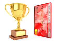 Gold cup with Credit Card Stock Image